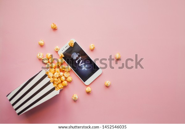 SAINT PETERSBURG, RUSSIA - JULY 7, 2019: Movies and series by subscription, concept. smartphone with Apple TV plus logo