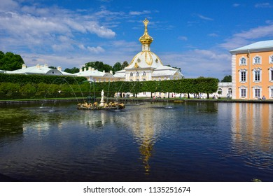 Saint Petersburg / Russia — July 8, 2012: a church of Grand Peterhof Palace. The palace's lower and upper gardens are famous for the large fountains complex