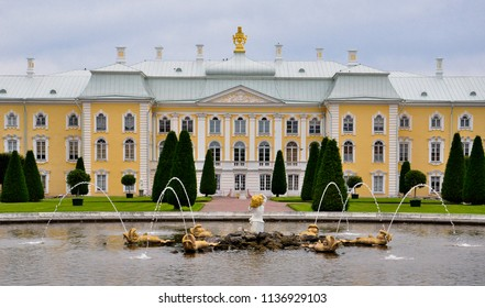 Saint Petersburg / Russia — July 8, 2012: Peterhof Palace, or Grand Peterhof Palace. The palace's lower and upper gardens are famous for the large fountains complex