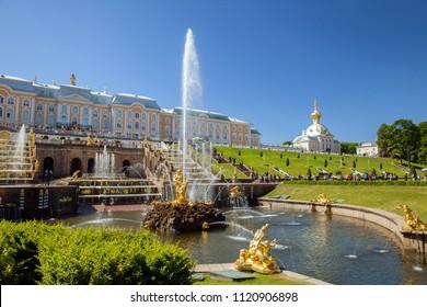 Saint Petersburg, Russia - JUN 14, 2018: Grand Peterhof Palace, Grand Cascade and  Fountain Samson and the Lion