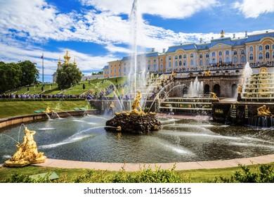 "SAINT PETERSBURG, RUSSIA - JUNE 01, 2018:View of the fountain ""Samson"" in the state Museum-reserve ""Peterhof"", Peterhof, Russia"