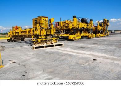 Saint Petersburg, Russia - june 02 2019: Concrete construction work on the runway