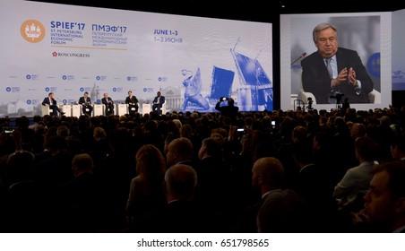Saint Petersburg, Russia. June 1 2017. Opening Ceremony of the Saint Petersburg International Economic Forum. UN Secretary General Guteres, Mongolia PM Erdenebat, Gabon PM Ngondet and Serbia DPM Dacic