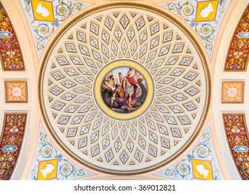SAINT PETERSBURG, RUSSIA - JUNE 12, 2015: Detail of the ceiling painting in State Hermitage