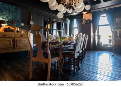 "Saint Petersburg, Russia - June 13 2017. Interiors of the restaurant ""Kvartira Kosti Kroitsa""  in St.Petersburg."