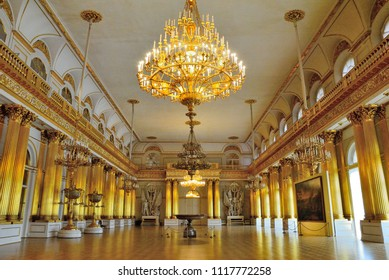 Saint Petersburg, Russia - June 17, 2018 - The Armorial Hall, or Guard Room at the Hermitage Museum in St. Petersburg