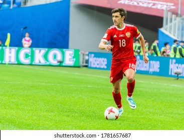 Saint Petersburg, Russia – June 17, 2017. Russia national football team midfielder Yury Zhirkov during FIFA Confederations Cup 2017 match Russia vs New Zealand.