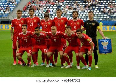 SAINT PETERSBURG, RUSSIA - JUNE 17, 2017. Russian international football team before FIFA Confederations Cup match Russia vs New Zealand.
