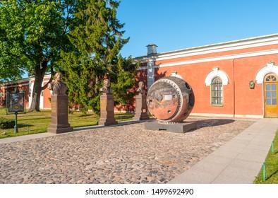 "Saint Petersburg, Russia - June 18, 2019: Monuments to Glushko, Korolev, Yuri Gagarin and lander topographic satellite ""Comet"" at Museum of cosmonautics in Peter and Paul Fortress on the Hare Island."