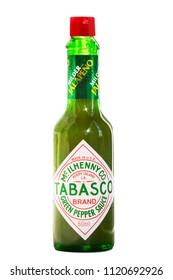 Saint Petersburg, Russia - June, 2018: Green pepper sauce - mild tabasco of famous manufacturer McIlhenny Company