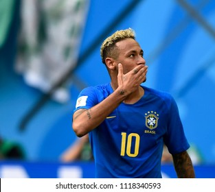 SAINT PETERSBURG, RUSSIA - June 22, 2018: Emotional Neymar of BRAZIL during the World Cup Group E game between Brazil and Costa Rica at Saint Petersburg Stadium.