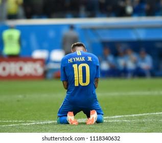 SAINT PETERSBURG, RUSSIA - June 22, 2018: Emotional Neymar of BRAZIL during the World Cup Group E game between Brazil and Costa Rica at Saint Petersburg Stadium.