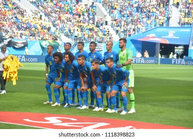 SAINT PETERSBURG, RUSSIA - June 22, 2018: Brazil team posing for a photo during the FIFA 2018 World Cup. Brazil is facing Costa Rica in the Group E at Saint Petersburg Stadium.
