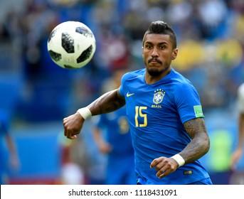 SAINT PETERSBURG, RUSSIA - June 22, 2018: Neymar of Brazil kicks the ball during the World Cup Group E game between Brazil and Costa Rica at Saint Petersburg Stadium.