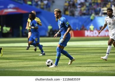 SAINT PETERSBURG, RUSSIA - June 22, 2018: Neymar of Brazil kicks the ball during the World Cup Group E game between Brazil and Costa Rica at Saint Petersburg Stadium