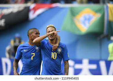 SAINT PETERSBURG, RUSSIA - June 22, 2018: Emotional Neymar and Douglas Costa of BRAZIL during the World Cup Group E game between Brazil and Costa Rica at Saint Petersburg Stadium.