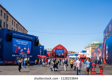 Saint Petersburg, Russia, june 27, 2018: Fifa Fan Fest festival for the football worldcup 2018