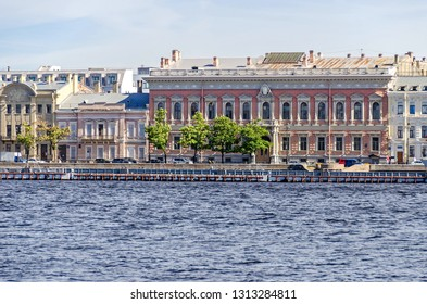 Saint Petersburg, Russia -  June 27, 2018: Neva River and Angliyskaya Embankment with palatial houses of imperial Russian nobility- House of Prince Vyazemsky and Mansion of Baron Stieglitz