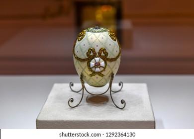 Saint Petersburg, Russia - June 30, 2018: Faberge egg at the Faberge Museum Saint-Petersburg.