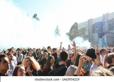 Saint Petersburg, Russia - June 30, 2019: Locals Only Fest 2019 Music Festival in public art space Sevkabel Port, russian rapper GONE.Fludd