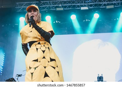 Saint Petersburg, Russia - June 30, 2019: Locals Only Fest 2019 Music Festival in public art space Sevkabel Port, Irish singer-songwriter & record producer, UK-Irish trip hop duo Moloko, Róisín Murphy