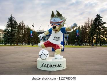 Saint Petersburg / Russia - June 6, 2018: Zabivaka, the official mascot of the FIFA World Cup 2018 in front of Saint Petersburg Stadium
