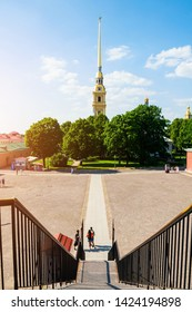Saint Petersburg, Russia - June 6, 2019. Belfry of Peter and Paul cathedral - view from height. Territory of Peter and Paul Fortress in St Petersburg, Russia