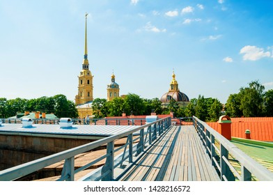 Saint Petersburg, Russia - June 6, 2019. Peter and Paul cathedral with belfry - view from height. Peter and Paul Fortress in St Petersburg, Russia. Travel landscape