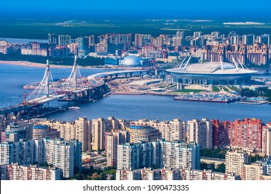 Saint Petersburg. Russia. Krestovsky Island. Vasilievsky Island. Construction of the district road in St. Petersburg. Football stadium in St. Petersburg.