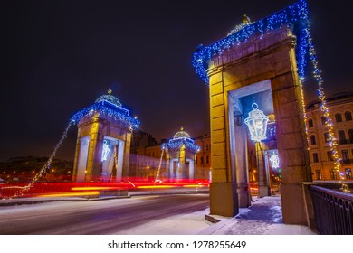 Saint Petersburg. Russia. Lomonosov bridge. Fontanka river. Rivers and canals of St. Petersburg. New Year decoration. Winter. New Year. Christmas. Bridges of St. Petersburg.  Russia in the winter.