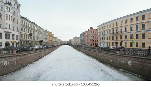 Saint Petersburg, Russia March 03 2019: Griboedov Channel frozen panoramic shot