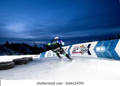 Saint Petersburg, Russia - March 06, 2020 : Red Bull ATSX 500 Ice Cross World Championship Qualification run, Igora Saint Petersburg