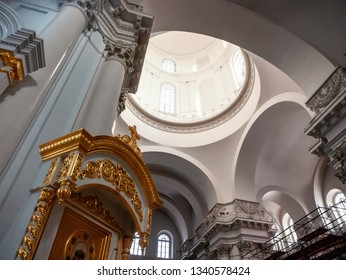 Saint Petersburg, Russia - March 15, 2019: Interior of Smolny Convent, Cathedral of the Resurrection, low angle view