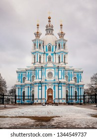 Saint Petersburg, Russia - March 15, 2019: Smolny Convent, Cathedral of the Resurrection
