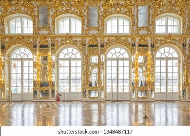 SAINT PETERSBURG, RUSSIA - MARCH 16, 2019: interior ballroom, Catherine palace, Tsarskoye Selo, Pushkin in Saint-Petersburg, Russia