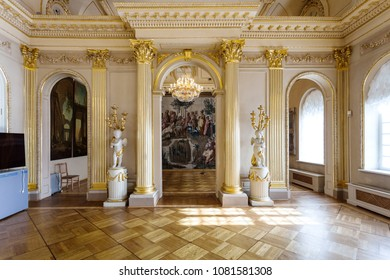 SAINT PETERSBURG, RUSSIA - MARCH 18, 2018: hall interior in Menshikov Palace on Universitetskaya Embankment of Vasilievsky Island in St Petersburg city. It was the first stone building in the town