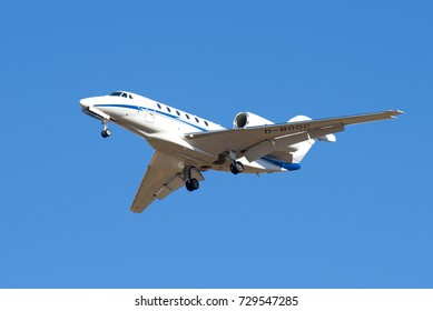 SAINT PETERSBURG, RUSSIA - MARCH 20, 2016: Cessna 750 Citation X (D-BOOC) Air X Charter before landing in Pulkovo airport