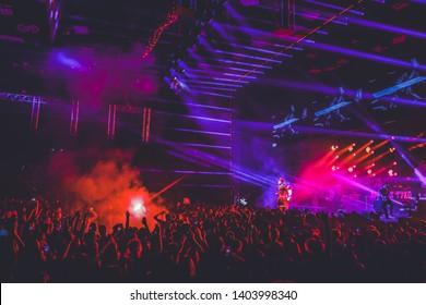 Saint Petersburg, Russia - March 23, 2019: Foucault pendulum (Mayatnic Fuco in russian) rap music festival in sk Yubileynyiy, russian rapper MORGENSHTERN