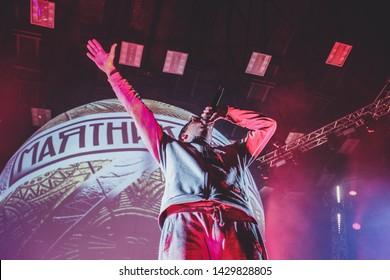 Saint Petersburg, Russia - March 24, 2018: Foucault pendulum (Mayatnic Fuco in russian) rap music festival in sk Yubileynyiy, russian rapper Slava KPSS