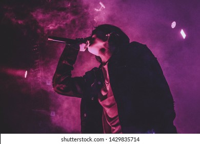 Saint Petersburg, Russia - March 24, 2018: Foucault pendulum (Mayatnic Fuco in russian) rap music festival in sk Yubileynyiy, russian rapper Flesh