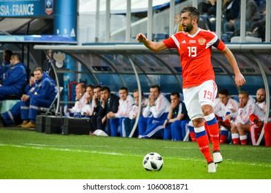 SAINT PETERSBURG, RUSSIA - March 27, 2018: Aleksandr Samedov during a friendly match between national team Russia and France in Saint-Petersburg Stadium, 2018, Russia