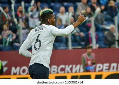 SAINT PETERSBURG, RUSSIA - March 27, 2018: Paul Pogba during a friendly match between national team Russia and France in Saint-Petersburg Stadium, 2018, Russia