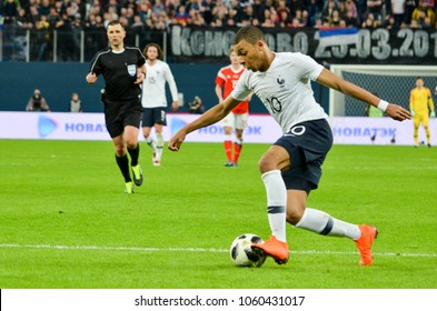 SAINT PETERSBURG, RUSSIA - March 27, 2018: Kylian Mbappe (R) during a friendly match between national team Russia and France in Saint-Petersburg Stadium, 2018, Russia
