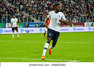 SAINT PETERSBURG, RUSSIA - March 27, 2018: Ousmane Dembele during a friendly match between national team Russia and France in Saint-Petersburg Stadium, 2018, Russia