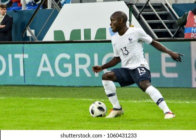 SAINT PETERSBURG, RUSSIA - March 27, 2018: N'Golo Kante (R) during a friendly match between national team Russia and France in Saint-Petersburg Stadium, 2018, Russia