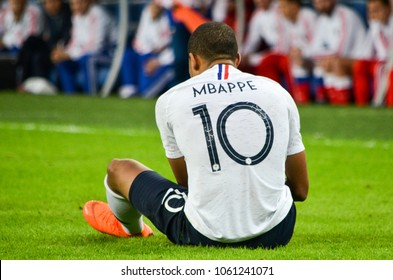 SAINT PETERSBURG, RUSSIA - March 27, 2018: Kylian Mbappe during a friendly match between national team Russia and France in Saint-Petersburg Stadium, 2018, Russia