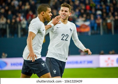 SAINT PETERSBURG, RUSSIA - March 27, 2018: Kylian Mbappe celebrate goal scored during a friendly match between national team Russia and France in Saint-Petersburg Stadium, 2018, Russia