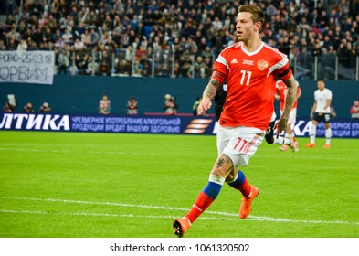 SAINT PETERSBURG, RUSSIA - March 27, 2018:  Fedor Smolov during a friendly match between national team Russia and France in Saint-Petersburg Stadium, 2018, Russia