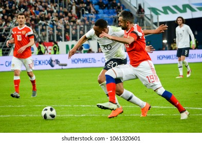 SAINT PETERSBURG, RUSSIA - March 27, 2018: Anthony Martial (L) during a friendly match between national team Russia and France in Saint-Petersburg Stadium, 2018, Russia