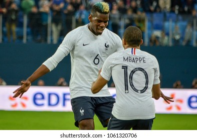 SAINT PETERSBURG, RUSSIA - March 27, 2018: Football player during a friendly match between national team Russia and France in Saint-Petersburg Stadium, 2018, Russia
